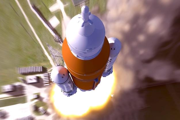 Vue de dessus du lancement de la fusée spatiale les éléments de cette image ont été fournis par la nasa
