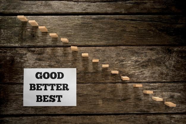Vue de dessus du message good better best écrit sur une carte en papier blanc posée à côté d'une marche faite de chevilles en bois ressemblant à un escalier avec un fond en chêne texturé.