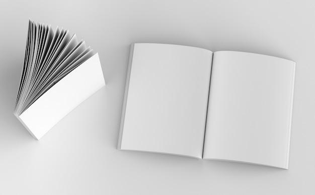 Vue de dessus du modèle de couverture de magazine blanc