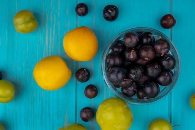 Vue de dessus du modèle de fruits comme nectacots prunes pluot vertes et baies de raisin avec bol de baies de raisin sur fond bleu