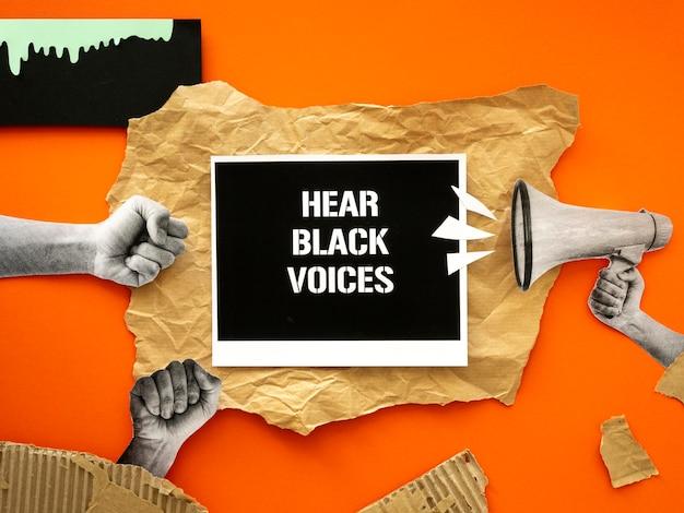 Vue de dessus du mouvement des vies noires