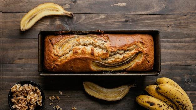 Vue de dessus du pain à la banane