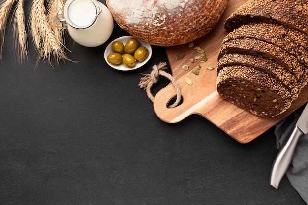 Vue de dessus du pain concep avec espace copie