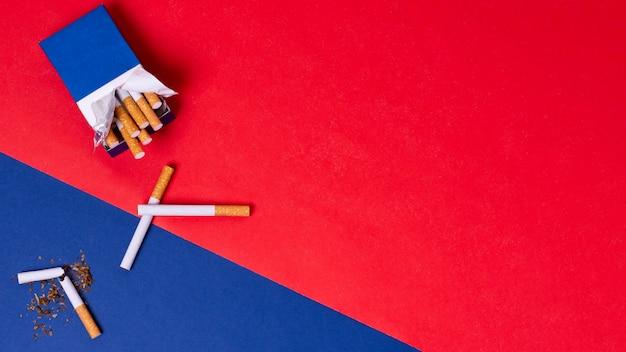Vue de dessus du paquet de cigarettes
