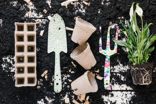 Vue de dessus du pot de tourbe; plateau de tourbe; pelle de jardinage; fourche et plante sur sol noir