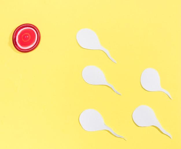 Vue de dessus du préservatif rouge ressemblant à une cible