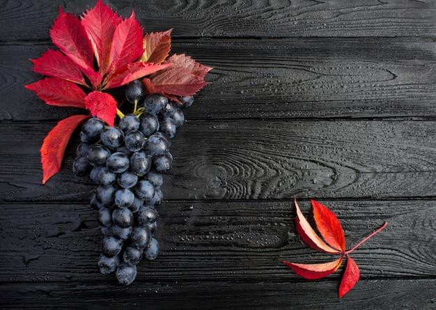 Vue de dessus du raisin bleu et des feuilles rouges sur le fond en bois noir humide. espace de copie.