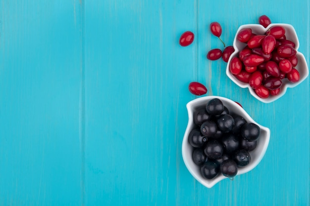 Vue de dessus du raisin noir sur un bol avec des baies de cornouiller sur un fond en bois bleu avec espace copie