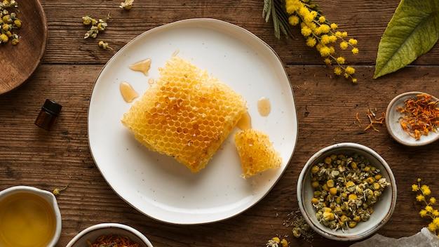Vue de dessus du rayon de miel et des plantes
