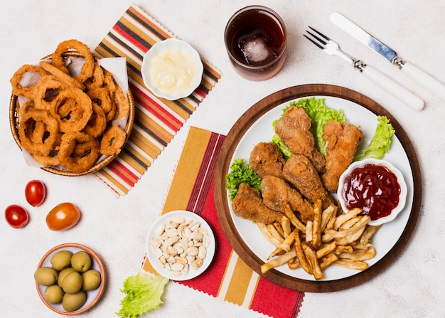 Vue de dessus du repas de restauration rapide