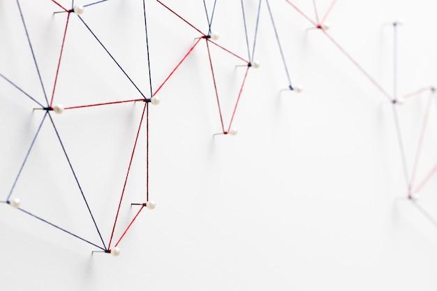 Vue de dessus du réseau de communication internet avec espace copie