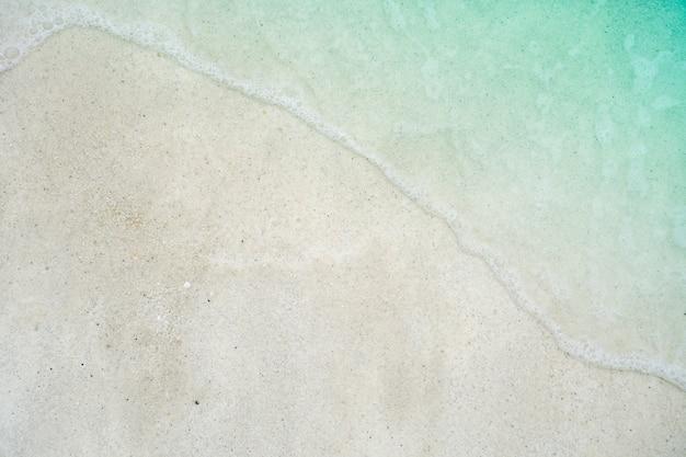 Vue de dessus du sable et de l'eau plage propre et sable blanc en été avec ciel bleu clair du soleil et fond de bokeh.