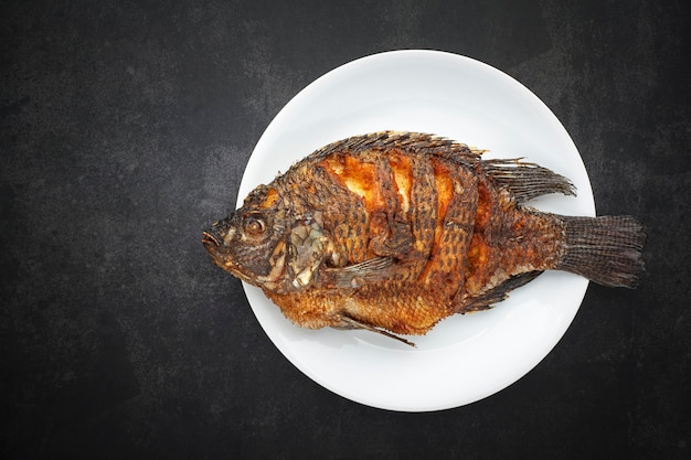 Vue de dessus du savoureux gros poisson tilapia du nil frit avec une simple plaque blanche sur fond de texture gris foncé, gris, noir avec espace de copie pour le texte