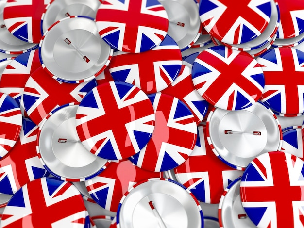 Vue de dessus du tas de badges bouton avec union jack. drapeau du royaume-uni. rendu 3d réaliste