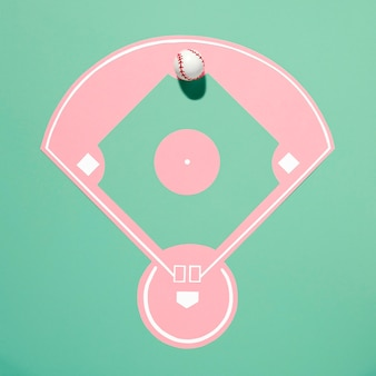 Vue de dessus du terrain de baseball