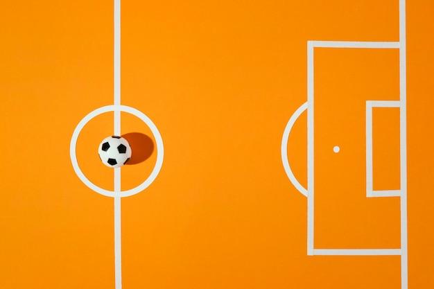Vue de dessus du terrain de football nature morte
