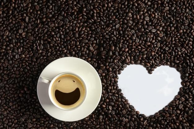 Vue de dessus du visage souriant à partir de bulles d'espresso montrées dans une tasse à café blanche
