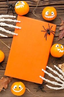 Vue de dessus effrayant halloween concept