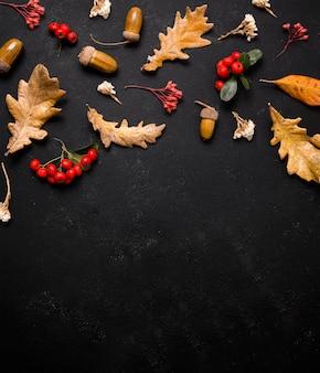 Vue de dessus des éléments d'automne avec espace copie