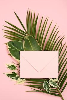 Vue de dessus de l'enveloppe sur les feuilles des plantes