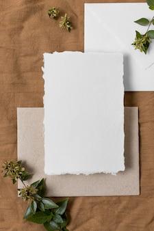 Vue de dessus d'enveloppe et de plantes