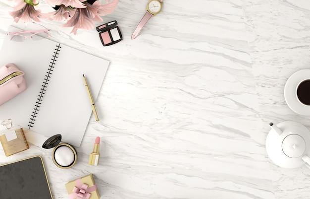 Vue de dessus de l'espace de copie avec cahier et cosmétiques