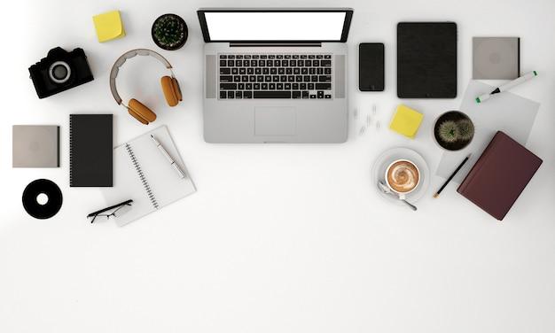 Vue de dessus de l'espace de copie avec ordinateur portable et papeterie