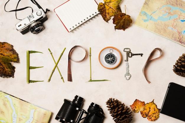 Vue de dessus explorer la typographie