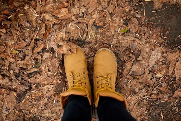 Vue de dessus femme debout avec des bottes de montagne de randonnée sur les feuilles d'automne et le bois