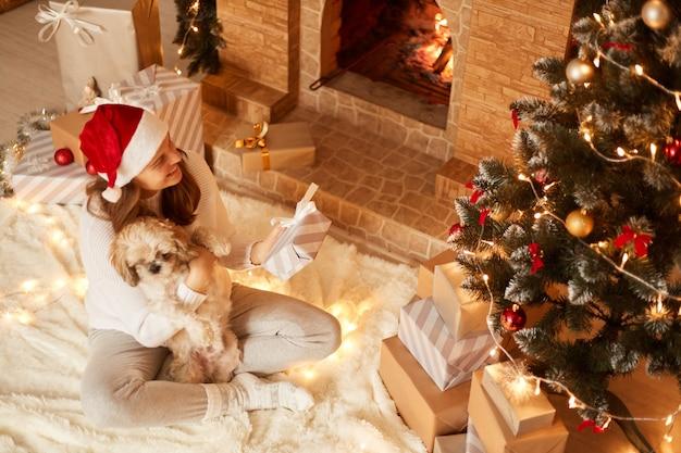 Vue de dessus d'une femme souriante heureuse portant un chapeau de père noël rouge, serrant son chien pékinois et tenant une boîte présente, posant dans un salon festif près de la cheminée et de l'arbre de noël.