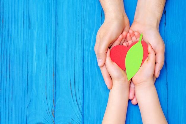 Vue de dessus de la feuille verte avec coeur rouge dans les mains de l'adulte et de l'enfant sur fond bleu en bois. concept de la journée mondiale de l'environnement, de la journée mondiale de la santé et de la journée de la terre. espace de copie.