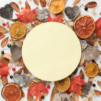 Vue de dessus des feuilles d'automne avec des agrumes séchés et de l'espace de copie