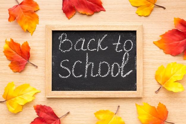 Vue de dessus des feuilles d'automne pour la rentrée scolaire avec tableau noir