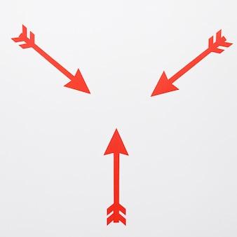 Vue de dessus des flèches au centre
