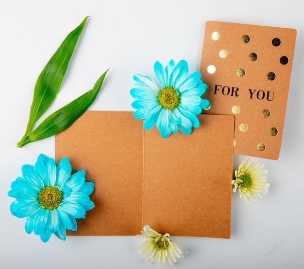 Vue de dessus des fleurs de chrysanthème de couleur bleu et blanc avec une carte postale sur fond blanc