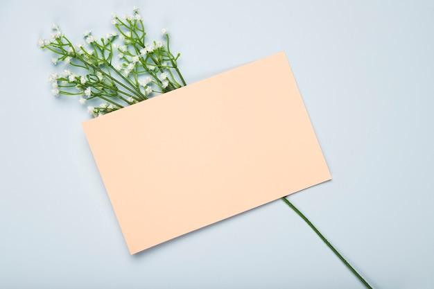 Vue de dessus des fleurs épanouies avec carte
