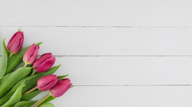 Vue de dessus des fleurs sur un fond en bois avec espace de copie