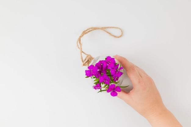 Vue de dessus des fleurs avec les mains