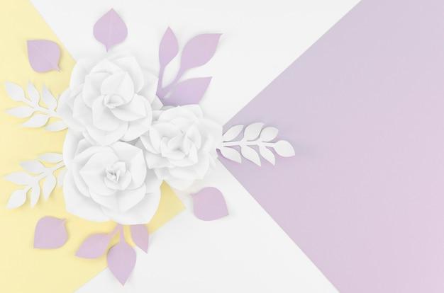 Vue de dessus des fleurs en papier blanc sur fond coloré