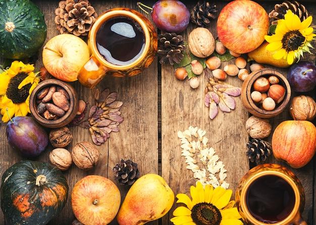 Vue de dessus de fond belle composition automne cadre