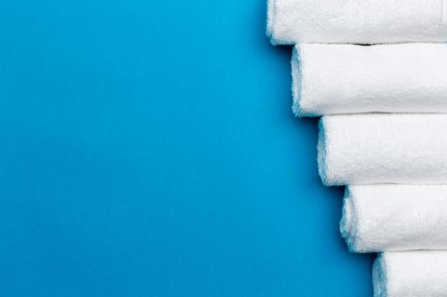 Vue de dessus de fond de serviettes spa