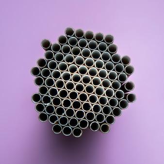 Vue de dessus en forme de nid d'abeille de paille