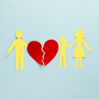 Vue de dessus en forme de papier de divorce familial