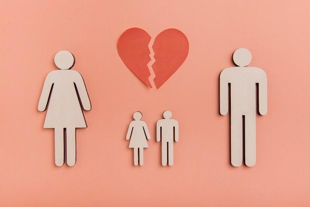 Vue de dessus des formes humaines de la famille