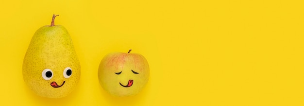 Vue de dessus fruits avec espace copie