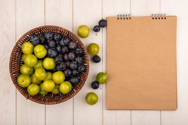 Vue de dessus des fruits frais tels que les prunelles violet foncé et les prunes cerises vertes sur un seau sur un fond blanc avec copie espace