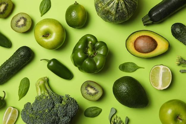 Vue de dessus de fruits et légumes