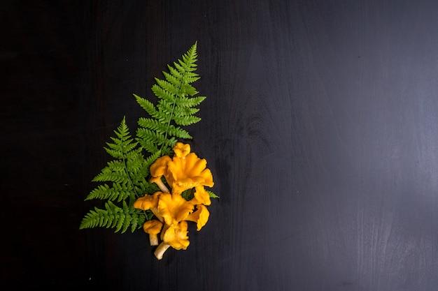 Vue de dessus des girolles fraîches sur une table sombre et avec place pour le texte. . photo de haute qualité