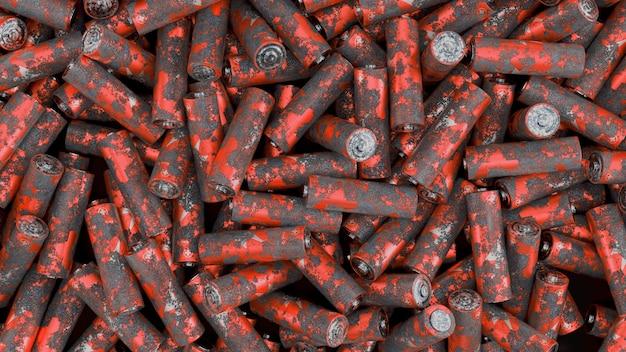 Vue de dessus sur un grand pack de batteries rouillées avec flou artistique. illustration de rendu 3d.