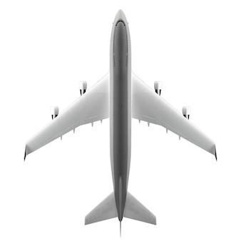 Vue de dessus de gros avion de passagers isolé sur une surface blanche